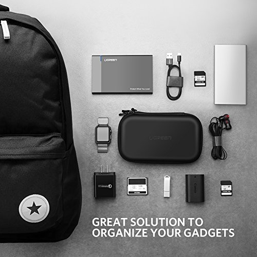 UGREEN Hard push situation Shockproof External Hard push travelling bag around Electronics Organizer Carry situation for 25 Inch Hard push from WD Toshiba Seagate Samsung Hitachi and solutions enjoy SD Card USB Cable power Bank Earphone Black Bags Cases