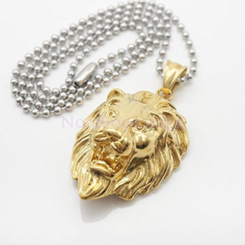 Mens Hip Hop Gold Lion Head Pendant Silver Ball Bead Chain Pendant Necklace by notebook.edge