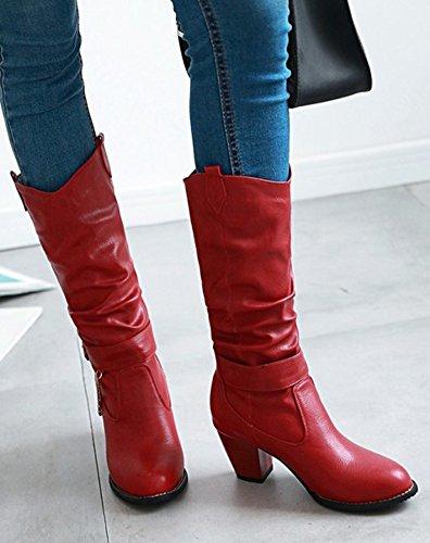 Rouge Aisun Longues Classique Femme Métal Neige Bottes wvwqOY