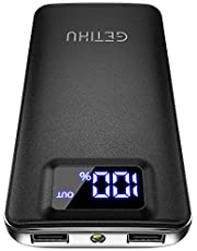 GETIHU Portable Charger, LED Display 10000mAh Power Bank, 4.8A 2 USB Ports High-Speed Battery Backup with Flashlight, Compatible with iPhone XS X 8 7 6 6s plus Samsung Galaxy Note 9 S9 Huawei Blackberry Oneplus iPad Tablet etc.