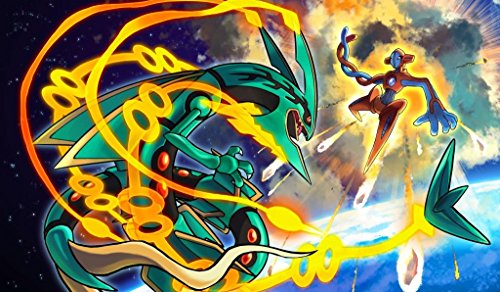 Pokemon Mega Rayquaza and Deoxys TCG playmat, gamemat 24'' wide 14'' tall for trading card game smooth cloth surface rubber base by Masters of trade