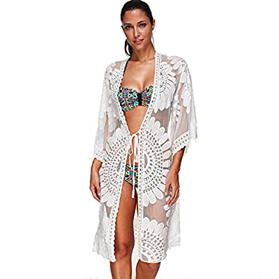 Swimsuit Coverups Ladies Sexy Bikini Cover up for Beach Bathing,See-Through White Floral Lace,Plus Size fit All