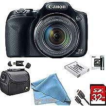 [Patrocinado] Canon Powershot SX530 HS - Cámara digital WiFi de 16 MP con zoom óptico de 50 aumentos, incluye bolsa de cámara de lujo, tarjetas de memoria de 32 GB, batería extra, trípode, lector de tarjetas, cable HDMI y más