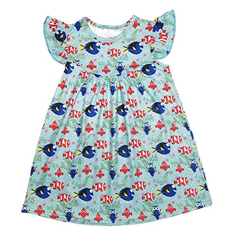 Great Lakes Kids Apparel--Finding Nemo Milk Silk Flutter Dress-Beautiful-Wrinkle Free Blue -