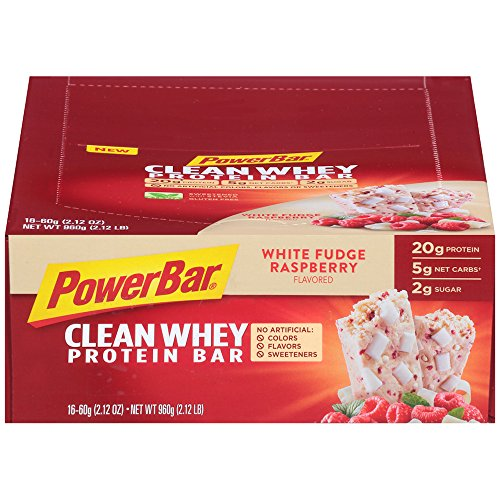 PowerBar Clean Whey Gluten Free Protein Bars, White Fudge Raspberry, 16 Count