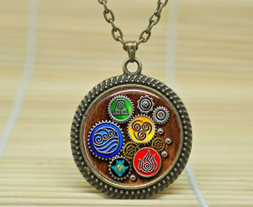 SunShine Day Fashion Necklace Avatar Last Airbender 4 Elements Steampunk Pendant Pendant Necklace Glass Cabochon Necklace - Avatar Glasses