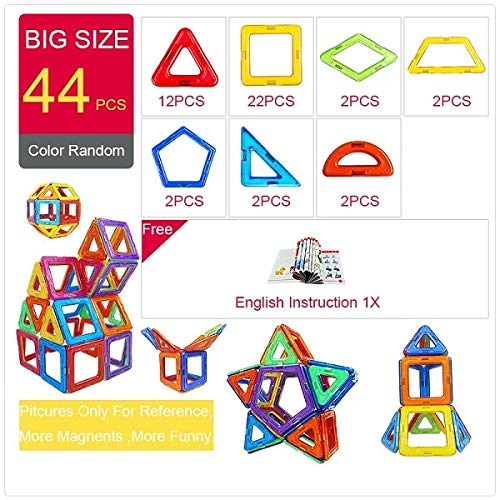 PPH3 Shine Magnetic Designer Construction & Building Toys 44-157PCS Big Size Magnetic Blocks DIY Magnets Building Blocks Toys Gifts (126Pcs)