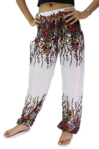Bangkokpants Women's Hippie Pants Flowers Design White Us Size 0-14
