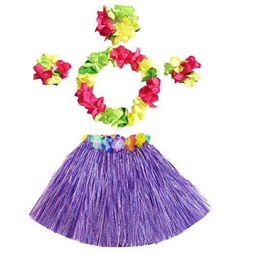 (Girl's Elastic Hawaiian Hula Grass Skirt Dancer Performance Costume Set for Kids (Purple))