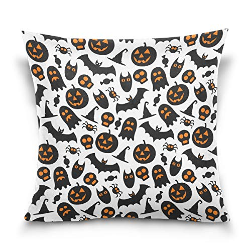 Terstin Jack O' Lantern Pumpkin Halloween Costume Pillow Case,Spooky Halloween Graphic,Sofa Bed Home Decor Cushion Cover
