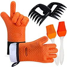 BBQ Grilling Gloves and Meat Claws, Meiso Silicone Gloves Heat Resistant Oven Mitts Waterproof Non-slip Potholder with Extended Forearm Protection Internal Cotton Layer for Barbecue, Cooking, Baking