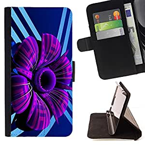 For Samsung Galaxy S6 Purple Abstract Flower Beautiful Print Wallet Leather Case Cover With Credit Card Slots And Stand Function