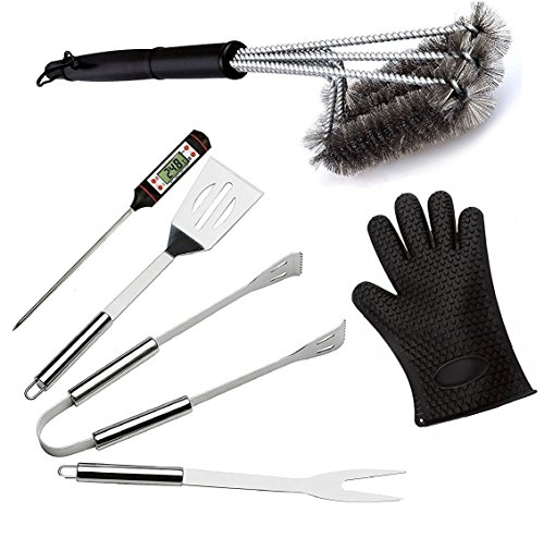 OLIVIA & AIDEN Barbecue Grill Tool Set - 6 Piece Stainless Steel Outdoor Barbecue Accessory Kit with BBQ Glove and Storage Case