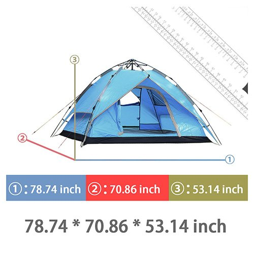 Likorlove 3 Person Camping Tent, Automatic Pop Up 3 Season, Double Layer Rainfly UV Protection Backpacking Tent with Carry Bag for Camping/Hiking/Travel/Hunting