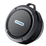 VicTsing Bluetooth Shower Speaker IPX65 Waterproof Speaker Portable Bluetooth Speakers with 5W Drive, Suction Cup, Buit-in Mic, Hands-Free Speakerphone - Black