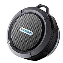 VicTsing Bluetooth Shower Speaker IPX65 Waterproof Speaker Portable Bluetooth Speakers with 5W Drive, Suction Cup, Buit-in Mic, Hands-Free Speakerphone - Black
