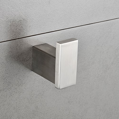 Single Robe Hook Stainless Steel Bathroom Towel Kitchen Hanger Large Square Heavy Duty Modern Bath Towel & Clothes Holder Bath Hardware Wall Mount Brushed Nickel MARMOLUX (Modern Brushed Nickel Bath)