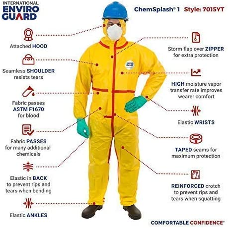 6 pack  CHEMSPLASH 1 7015YT-2XL Hooded Elastic 2XL Coverall Suit chemical resist