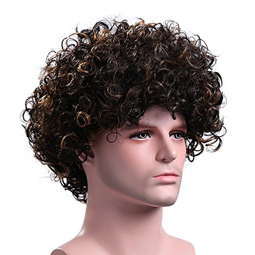 Menoqi Men's Curly Wigs California Heat Resistant Wigs Synthetic Hair Wigs Natural Looking Wigs with Wig Cap WIG081 -