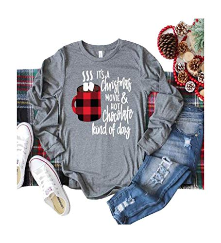 It's A Christmas Movie and Hot Chocolate Kind of Day T Shirt Womens Baseball Tee Shirt Casual Tops (M, Grey)