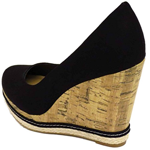 Ladies Black Canvas Slip-On Wedge High Heel Platform Court Shoes Pumps Sizes 3-9 dZofDMO