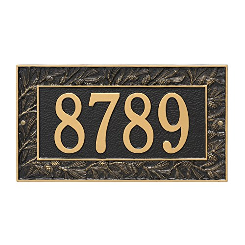 Pinecone Address Plaque - Custom 1 Line Pinecone WALL Address Plaque 16