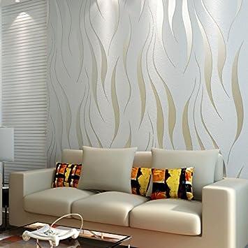 DUOCK 10 m Rolle moderne Tapete Stil Beige/Weiß beige-weiße ...