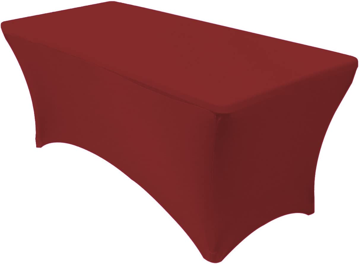 Your Chair Covers - 6 ft Rectangular Fitted Spandex Tablecloths Patio Table Cover Stretchable Tablecloth - Burgundy