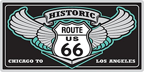 Wings Metal License Plate - Historic Route 66 License Plate with Route US 66 Highway Sign & Freedom Wings Metal Wall Plaque or Car Vanity Plate 12