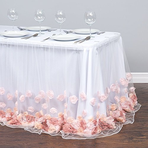 21 ft. Tulle Rose Table Skirt Blush Pink by LinenTablecloth