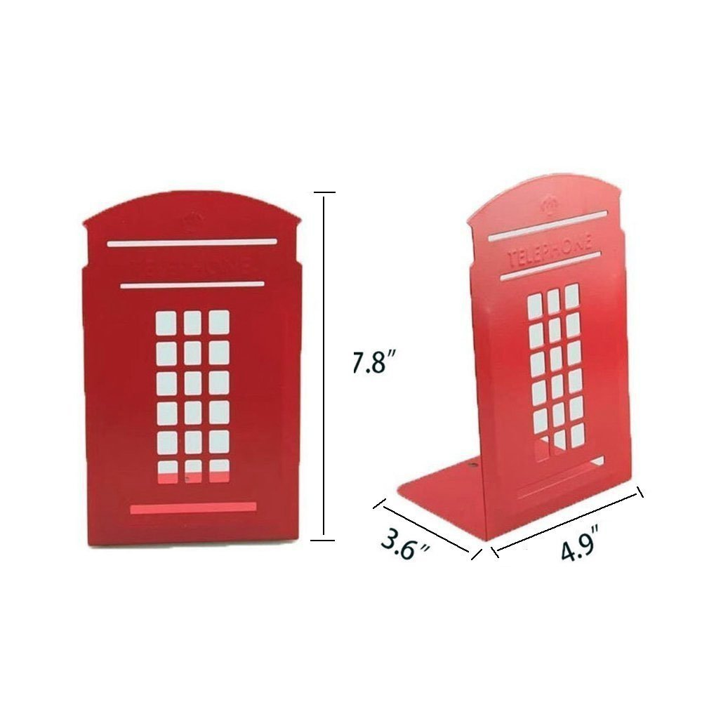 AROGEAR Metal Bookends Sturdy Stable Solid Antiskid Telephone Booth Style Decoration for Bedroom Library Office School Supplies Stationery Gift Decoration(1Pair London red)