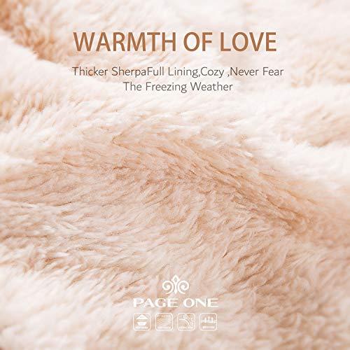 ca5bc38e6 PAGE ONE Women Winter Pom Pom Beanie Hats Warm Fleece Lined,Chunky Trendy  Cute Chenille Knit Twist Cap/Beige