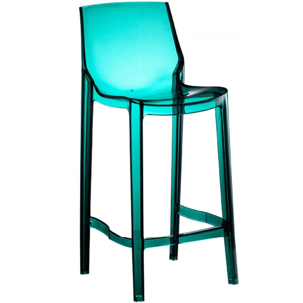 Lxrzls Transparent Ghost Chair Crystal Chair Home Breakfast Cosmetics Chair Bar Stool Chic Dressing Room Bedroom Cafeteria Chair (Color : Blue, Size : 65cm) by Lxrzls