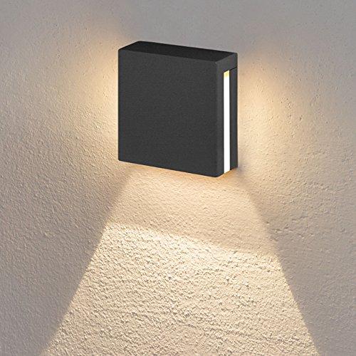 LED-Wandeinbauleuchte 3W, warmweiß, Graphitfarbe, Außenbereich