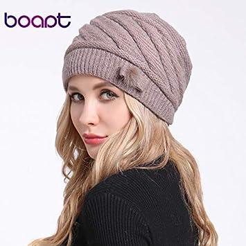 614e83b1bc3017 [HOKUGA] Fold Braids Back Rope Knitted Angora Rabbit Bonnet Caps For Women's  Hat Female