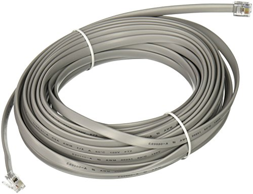 C2G 08115 RJ12 6P6C Straight Modular Cable, Silver (50 Feet, 15.24 Meters)