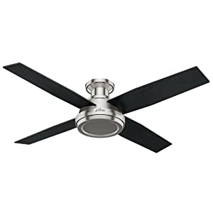 """Hunter 59247 Dempsey Low Profile Brushed Nickel Ceiling Fan With Remote, 52"""""""
