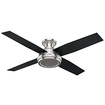 Amazon hunter fan company 59247 dempsey low profile brushed nickel hunter fan company 59247 dempsey low profile brushed nickel ceiling fan with remote 52quot mozeypictures Gallery