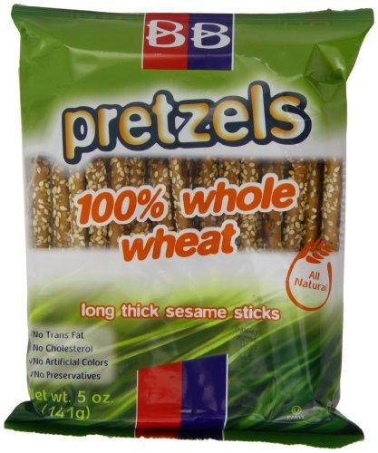 (Beigel Beigel 100 % Wheat Pretzels, 100% Whole Wheat Long Thick Sesame Sticks, 5-Ounce (Pack of 24))