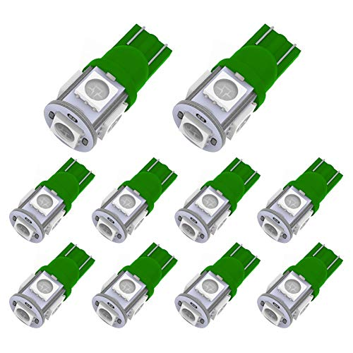 (YITAMOTOR 10PCS T10 Wedge 5-SMD 5050 Green LED Light Bulbs W5W 2825 158 192 168 194 12V DC)