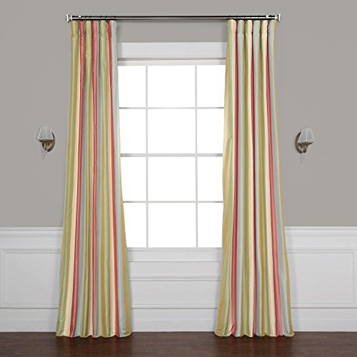 - Pts-SLK20-84 Luxury Faux Silk Stripe Curtain, 50 x 84