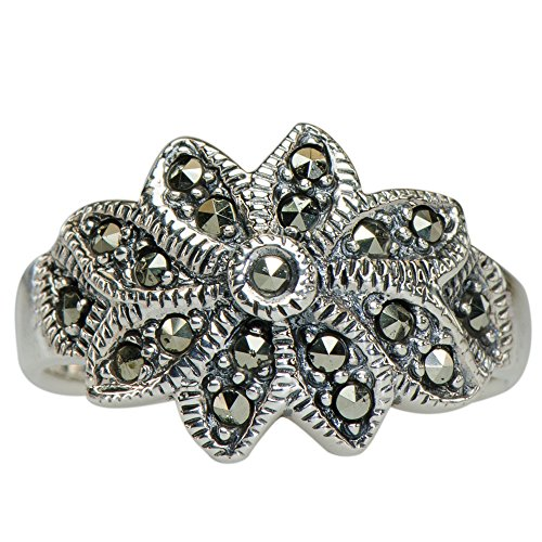 y Vintage Marcasite Amazing Daisy Flower Ring 925 Silver (Cabochon Marcasite Ring)