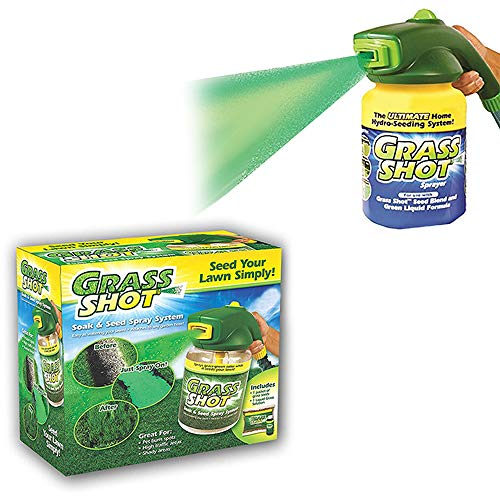 Grass ShotThe Ultimate Home Hydro Seeding System Liquid Spray Seed Lawn Care Grass Shot for Pet Burn Spots, High Traffic Areas, Shady Areas