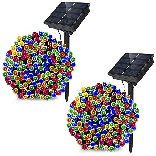 Dolucky 72ft 21m 200LED Solar Powered String Lights 8modes Solar Fairy Lights, Waterproof Christmas String Lights for Outdoor Garden Party Wedding Decoration (Multicolor, 2 Pack)