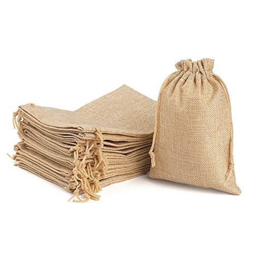 YUXIER Burlap Gift Bags with Drawstring 6.7 x 4.7 for Wedding Party Favors Craft Jute Sacks Project Jewelry Pouches Pack of 24 -
