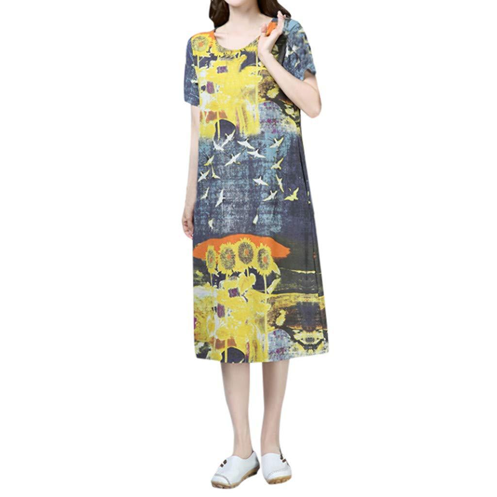 Summer Dress, Women's Bohemia Printed Vintage Strap Dress Casual Loose Short Sleeve Midi Dress (M, Yellow)