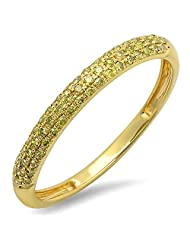 0.25 Carat (ctw) 18k Yellow Gold Round Yellow Diamond Ladies Pave Wedding Band Stackable Ring 1/4 CT