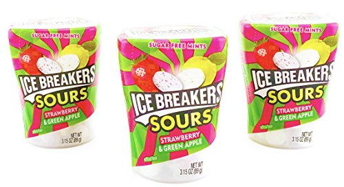 ICE BREAKERS Sours Sugar Free Mints, Strawberry and Green Apple, 3.15 Ounce (Pack of 12) -