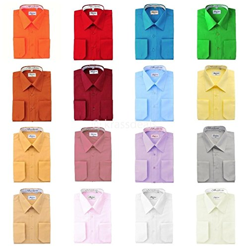 Berlioni Men's Long Sleeve Solid Colors Convertible Cuffs Dress Shirts – Many Colors
