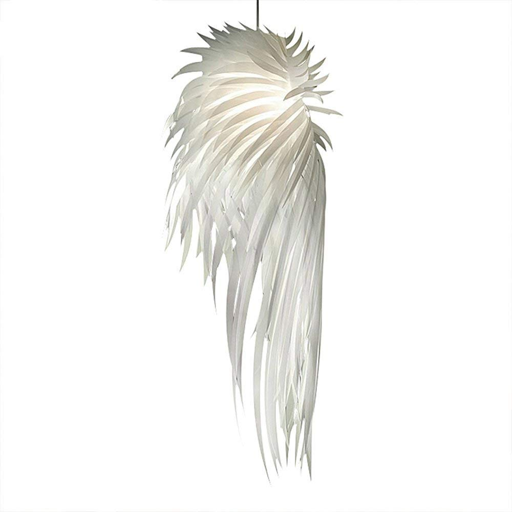 IJ INJUICY Modern Angel Wing PP E27 Edison Feather Pendant Lamps Shades PVC Led Ceiling Pendant Lights Fixtures for Girl